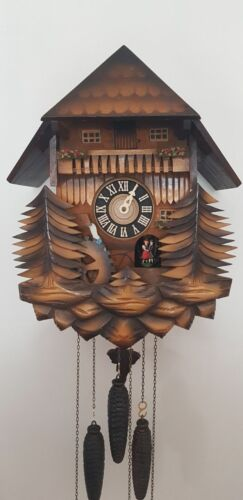 Vintage Musical Chalet Cuckoo Clock with dancer and watermill and music box