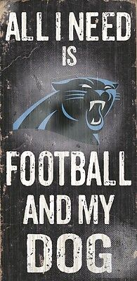 Carolina Panthers Football and Dog Wood Sign [NEW] NCAA Man Cave Den Wall