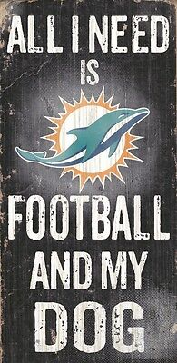 Miami Dolphins Football and Dog Wood Sign [NEW] NCAA Man Cave Den Wall