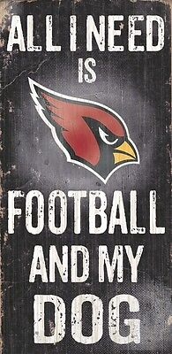 Arizona Cardinals Football and Dog Wood Sign [NEW] NCAA Man Cave Den Wall