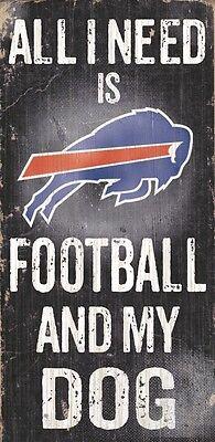 Buffalo Bills Football and Dog Wood Sign [NEW] NCAA Man Cave Den Wall