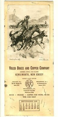 Vintage COWBOY Ink Blotter! Heading Him Off R.H. PALENSKE (Volco Brass & Copper)