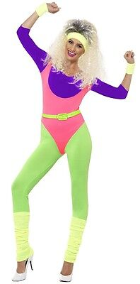 Ladies 1980s 80s Aerobic Dance Fitness Instructor Fancy Dress Costume Outfit