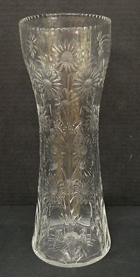 Antique Wheel Cut Glass Vase with Daisies