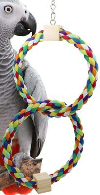 1677 Twin Rainbow Rope Swing Bird Toy parrot cage toys cages african grey conure