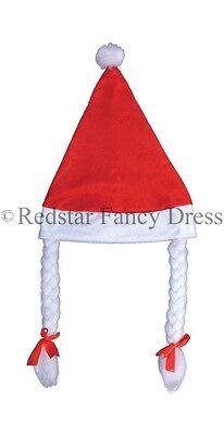 Damen Santa Hut mit Geflecht Haarzöpfe rot Schleifen weich
