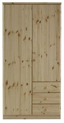 Steens Kleiderschrank 2 trg. Ribe Kiefer massiv Natur lackiert mit 3 Schubladen - 2 Schubladen Kiefer Schrank