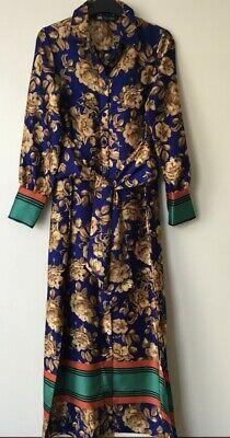 ZARA FLORAL PRINTED SHIRT DRESS SIZE XS 8