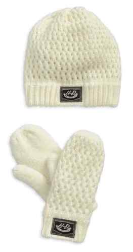 NEW Harley-Davidson Womens Open Knit Mitten & Beanie Set Off-White