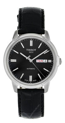 Tissot T0654301605100 T-Classic Automatic III Day Date Men's Black Leather Watch