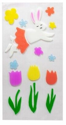 Happy Easter Spring Bunny Tulips Window Gel Sticker Cling Decorations classroom  - Spring Classroom Decorations