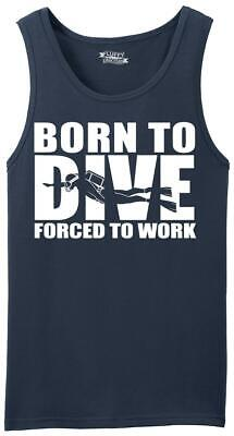 Mens Born To Dive Forced To Work Tank Top Scuba Diver Ocean Fish