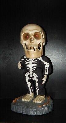 """Gemmy Animated Singing Big Head Dancing Skeleton Sings """"Super Freak"""" Red eyes"""