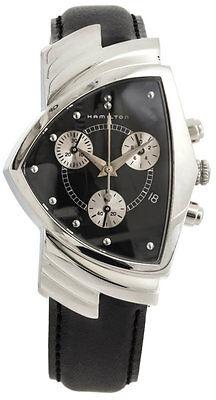 Hamilton Ventura Chronograph Black Leather Quartz Men Watch H24412732 New in Box