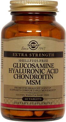 Glucosamine Chondroitin 60 Tablets - Solgar Glucosamine Hyaluronic Acid Chondroitin MSM Shellfish-Free 60 Tablets