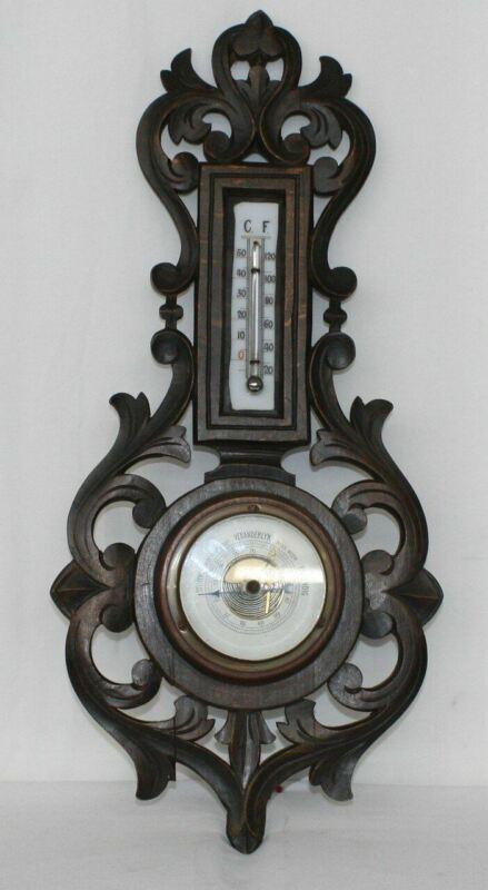Vintage Black Forest Barometer W/ Thermometer