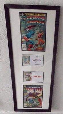 framed iron man and captain america marvel comics 1982