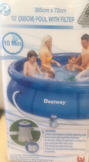 """Brand new unopened inflatable swimming pool with filter 10"""" 305cmX72cm  Elizabeth Vale Playford Area Preview"""