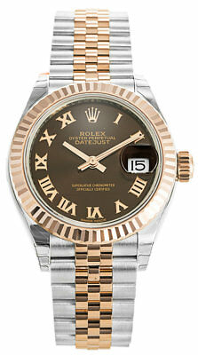 Rolex Datejust 28 Chocolate Dial Roman Fluted SS Rose Gold Jubilee Watch 279171