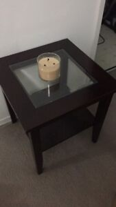 Cherry Wood / Glass End Table