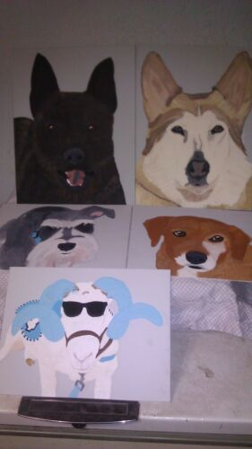"""Custom Pet Portrait - Acrylic on Canvas 8"""" X 10"""" from YOUR photo in just 3 days"""