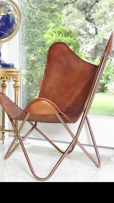Para Interior Exterior Handmade Vintage Cuero Mariposa Silla Con Todo Plegable