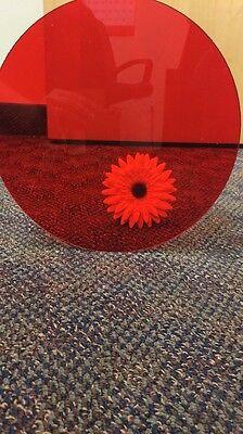 Transparent Red Acrylic Plexiglass 18 Plastic Sheet Circle Disc 10 Diameter