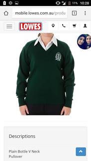 Pascoe Vale Girls V Neck Green Pullover