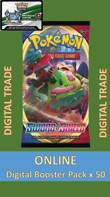50 x Sword And Shield Digital Booster Packs - Pokemon TCGO Online - New Release