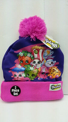 SHOPKINS 3 PIECES SET PURPLE BEANIE HAT WITH GLOVES FOR KID 100% ORIGINAL