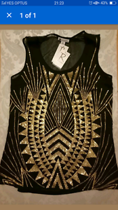ROCKMANS BLACK SINGLET WITH GOLD EMBELLISHED DETAIL Gwelup Stirling Area Preview
