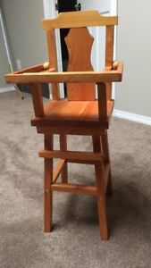 Doll Cradle and High Chair.  Handmade solid wood.