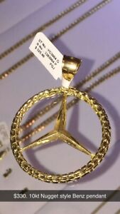 10kt nugget style Benz pendant