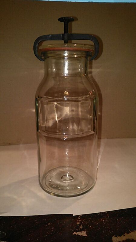 Antique WHEATON APOTHECARY PRODUCTS JAR with Iron Clamp