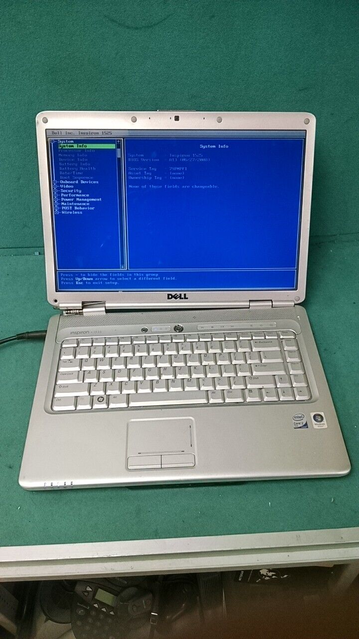 Dell Inspiron 1525 PP29L Intel Core 2 Duo 2 GHz 3 GB RAM NO HDD LAPTOP BIOS
