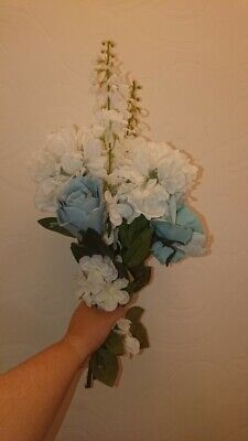 Blue & white fake flowers. Mixed bunch of 8 flowers. Dunelm. Excellent condition