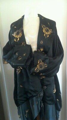 Antique 20's Paul Poiret STYLE Silk w/ Golden Emboidery Cocoon Opera Coat