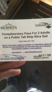 Pass for 2 for Tall ship Silva