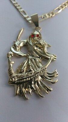 Grim Reaper Pendant Gold Plated Red Eyes. Dije de la Santa Muerte Free chain ()