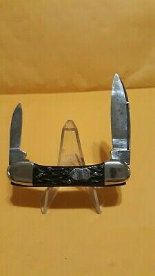 CARL SCHLIEPER EYE BRAND GERMANY 3 EYE BLACK BONE 2 BLADE CANOE KNIFE 1970S RARE