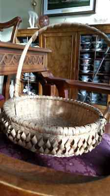Original antique Ojibwa aboriginal art craft  woven white ash hand made basket   for sale  Shipping to Canada