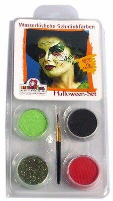Aqua Schminke Eulenspiegel Halloween Set Hexe mit Glitzer 4 Farben Pinsel Anleit
