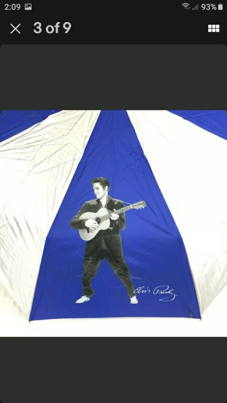"ELVIS PRESLEY Umbrella Blue Silver Retractable Automatic Compact (40"" open) NEW"