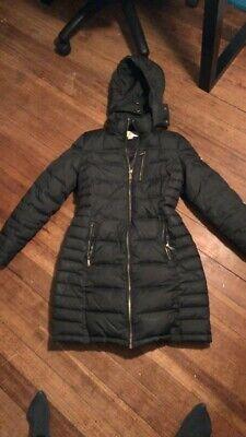 michael kors women long puffed black coat Size Small