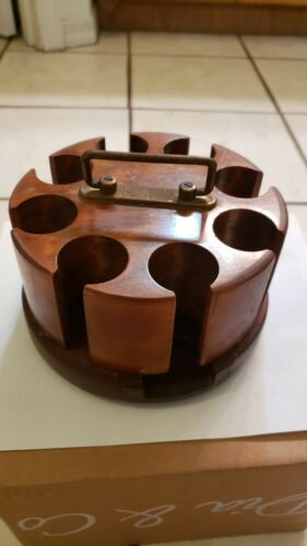 "Vintage Drueke Wooden Poker Chip Rack Revolving Caddy ""Play Away #399"