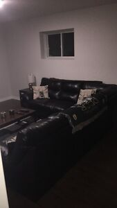 4month old sectional black leather