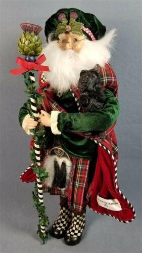 "Rare NEW MacKenzie Childs Retired Highland Santa Claus +Scottie Dog NIB 20"" Tall"