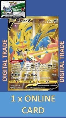1 x Sword and Shield Gold SR Zacian V 211/202 - Pokemon TCGO Online Digital