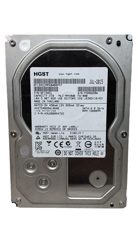 "HGST Ultrastar 7K4000 HUS724020ALA640 2TB 3.5"" SATA III Enterprise Hard Drive"