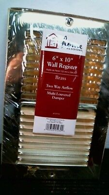 """Home Impressions 415715  6"""" x 10"""" Brass Wall Register,FREE SHIPPING"""